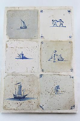 6x Dutch antique 17th C Delft blue Tile, Chinese Junk, Ice Skating Flood Robbery