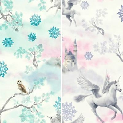 New Arthouse Fairytale Snowflake Pattern Princess Childrens Glitter Wallpaper