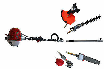 5in1 52cc Petrol Garden Multitool Strimmer Hedge Trimmer Pruner Saw Cutter