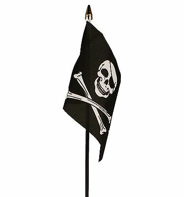 "SKULL & AND CROSSBONES PIRATE SMALL HAND WAVING FLAG 6""X4"" flags PIRATES"