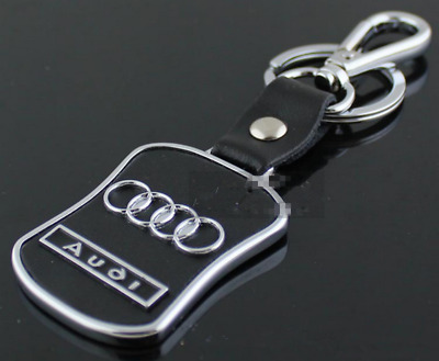 Carjoy Zinc Alloy Real Leather Car Logo Key Ring Keyrings Audi Key Chain Gift AU
