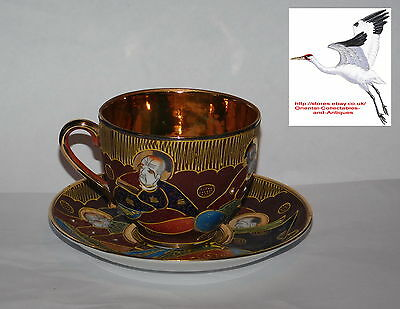Japanese Satsuma Samurai China Gold Lined Eggshell Porcelain Oriental Antique