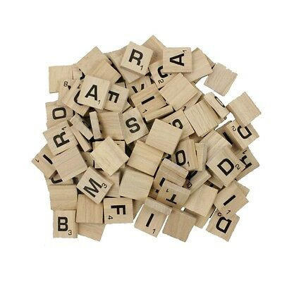 100 SCRABBLE TILES *NEW Wood Scrabble Letters* With Pouch Crafts Spelling Pieces