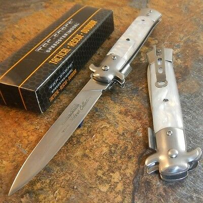 TAC-FORCE Spring Speed Assisted WHITE Swirl Milano Celluloid Knife NEW!