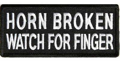 Embroidered Iron Or Sew On Cloth Biker Vest Patch ~ Horn Broken Watch For .. ~