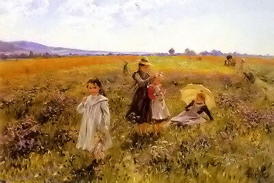 Oil painting emil czech - summers day mother with children free shipping cost