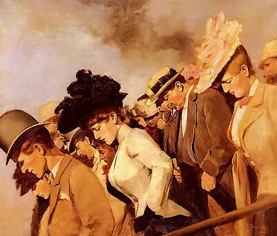 Oil painting figures portraits gentlemen and noble women at the races on canvas