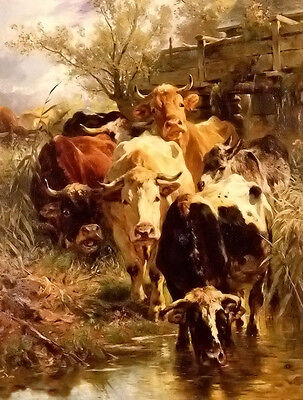 Oil painting anton braith - heading for water cows drinking by the pond canvas