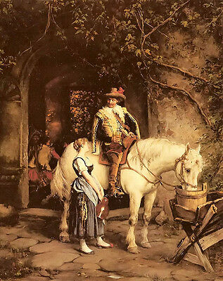 Oil painting Emil Rau - a stop at the tavern horseman & white horse in landscape