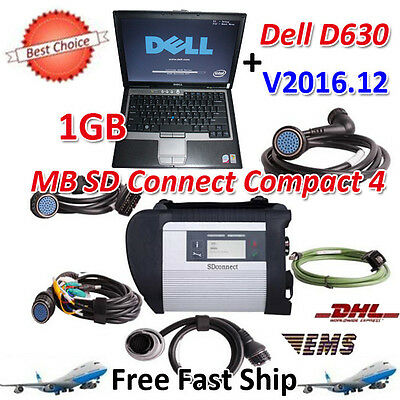 V2016.12 MB SD Connect Compact 4 Star Diagnosis+Dell D630 Laptop 1GB Memory
