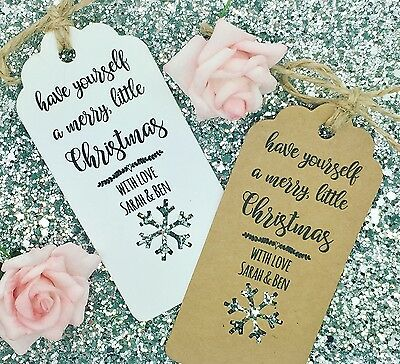 Personalised Christmas Card/ Gift Tag Xmas Party Present Tie Wrap