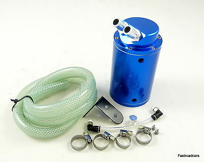 OIL CATCH TANK ENGINE BREATHER 480ml WITH FITTINGS BLUE