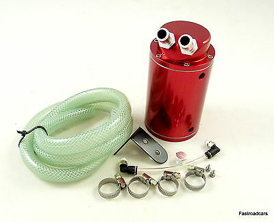 OIL CATCH TANK ENGINE BREATHER  480ml WITH FITTINGS RED