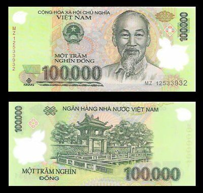 100,000 Vietnam Dong Uncirculated Lot of 1 Note Set Of 1 Note 100000 Viet Nam