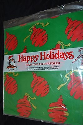 Vintage Paper Gift Wrap EXXON ESSO TIGER Holiday Ornaments Bulbs NOS Made USA