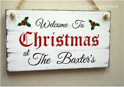 Christmas Welcome Sign Personalised Gift Shabby Vintage Chic Wooden Plaque