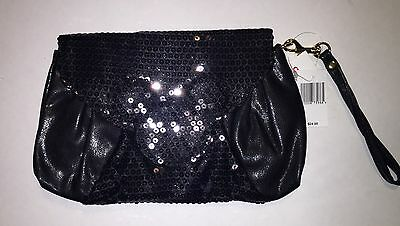 Disney Parks Black Sequin Mickey Head Icon Wristlet Bag Purse J76 NWT