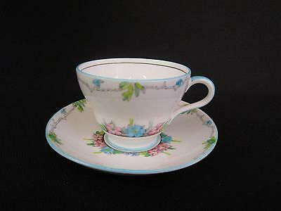 Foley China Pink & Blue Floral Tea Cups and Saucers (u)