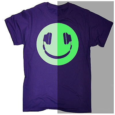 e7cdf775f Funny Men's T-shirt Glow in The Dark Headphone Smiling Music Rave Dj  Birthday