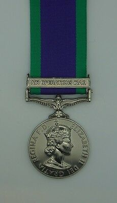 Full Size General Service Medal 1962 GSM with Air Operations Iraq Clasp