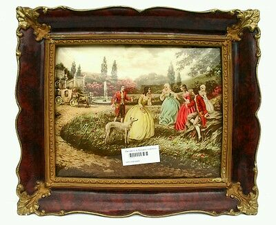 Amazing antique romantic scene printed on curved glass with antique frame