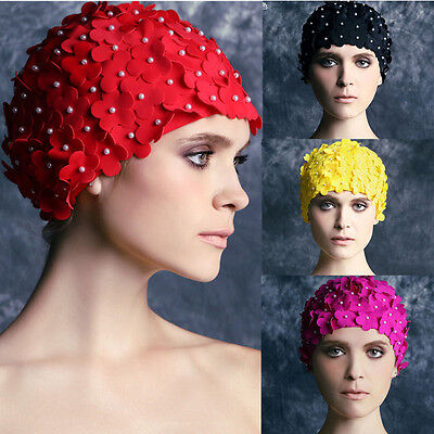 Women Fashion Handmade Floral Flowered Swimming Cap Adult Stretch Bathing Hat
