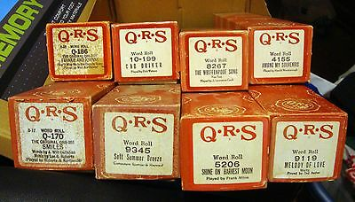 QRS Player Piano Rolls LOT OF 8 Titles Frankie & Johnny, The Whiffenpoof Song
