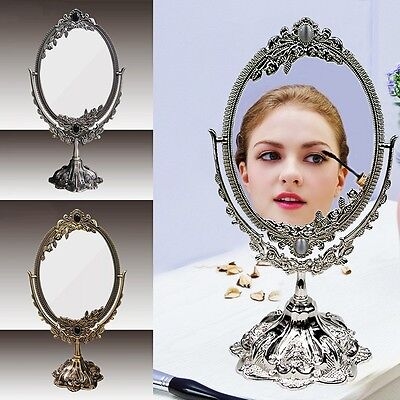 Vintage Silver/Bronze Two Sided Beauty Makeup Cosmetic Mirror Rose Flower Stand