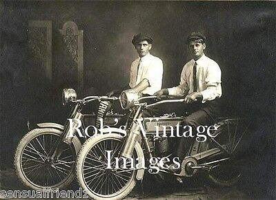 Harley Davidson Motorcycle Photo Antique Vintage Two Guys about 1912 US  England