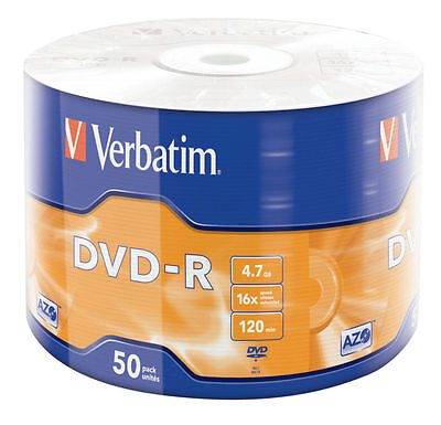 100 DVD -R + 100 BUSTINE Verbatim Vergini Vuoti 16 X Advanced Azo Dvdr 4.7 Gb