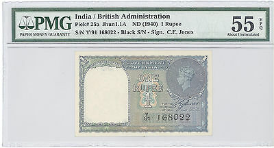 1940 India British Administration, 1 Rupee, PMG 55 EPQ About  UNC, P#: 25a