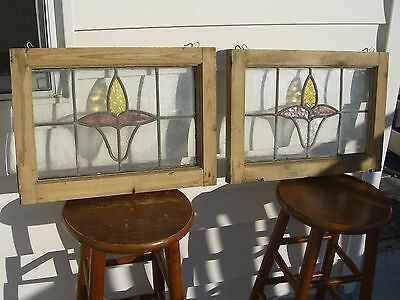 "Antique Pair of matching Fleur de Lis Stain Glass Windows - 20"" X 14 1/2"" 19c."