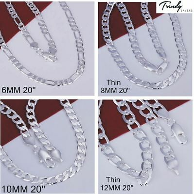 Men's Silver Plated  Necklace Chain Jewellery 4mm-12mm Wide