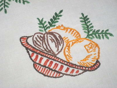 Bowl Of Christmas Chestnuts & Fruit! Vintage German Hand Embroidered Tablecloth