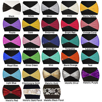 New Lycra Spandex Chair Cover Bands Sashes Wedding Event Banquet Stretch