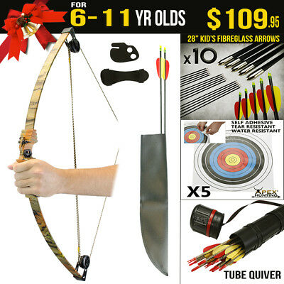 Kids Gift Pack for 6-11 Yr Old 10 Lbs Camo Compound Bow Kids Target Archery