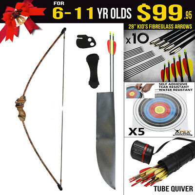 Kids Gift Pack for 6-11 Yr Old 15 Lbs Camo Longbow - Kids Target Archery