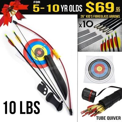 Kids Gift Pack for 5-10 Yr Old 10 Lbs Red Longbow - Kids Target Archery