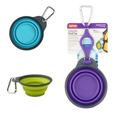 DEXAS Popware Collapsible TRAVEL CUP Food Water Pet Bowl Dish with Clip Bottle