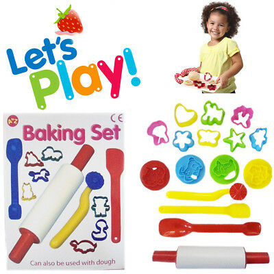 Girl's Baking Set Kids 14pc Play Toy Roller Cutter & Mould Toy Kit Gift Pack Set
