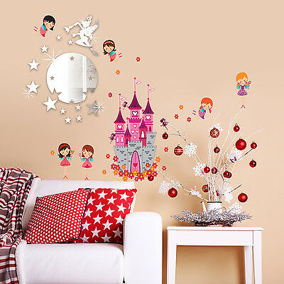 Wall Stickers Home Christmas Angel Castle Tinker Bell Mirror Decal 110cm x 60cm