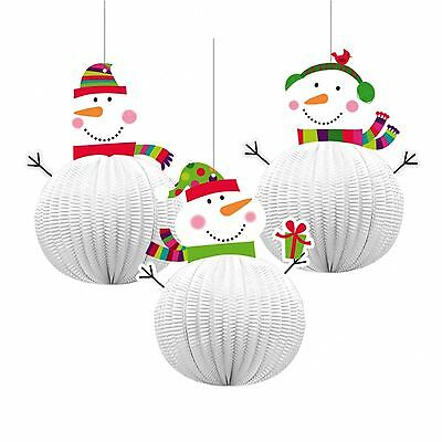 3 x Honeycomb Snowman 3D Xmas Hanging Party Decorations Christmas Ceiling Window