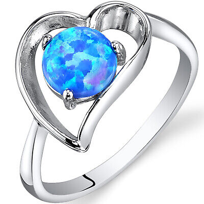 0.50 Carat Created Blue Opal Engagement Ring in Sterling Silver Sizes 5 to 9