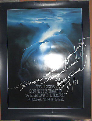 GEORGE SUMNER Dolphins poster, 1987, 24x34, VG+, AUTOGRAPHED (1991)