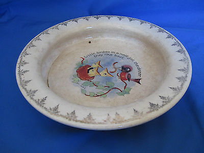 Vintage Holdfast Baby Plate McNicol East Liverpool OH Little Birdies in the Nest