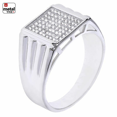 Fashion Hip Hop Iced Out Silver Plated Hand Set CZ Square Men's Pinky Rings