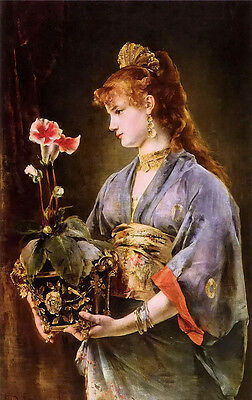 Oil painting Alfred Stevens - portrait of a woman holding red flowers no framed