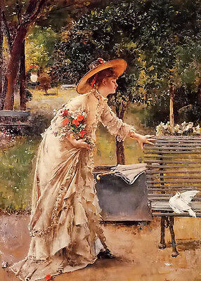 Oil painting Alfred Stevens afternoon in the park nice noble lady & pigeon dove