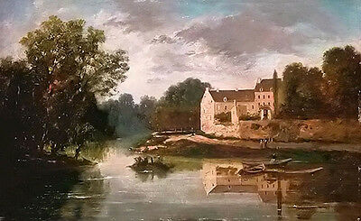 Oil painting paul peel - beautiful village landscape by the river with canoe art
