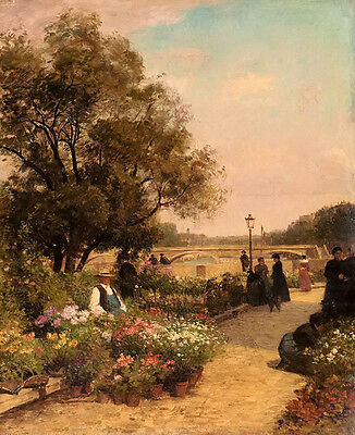 Oil painting Alfred Stevens - Beautiful landscape & people at flowers market art